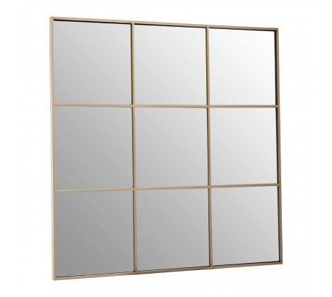 Grid Wall Mirror With Gold Finish Frame - Modern Home Interiors