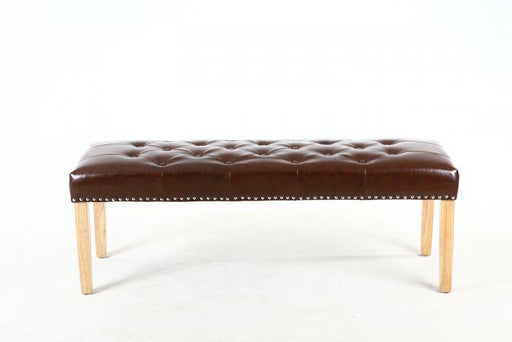 Antique Brown Vintage Leather Match Backless Medium Bench - Modern Home Interiors