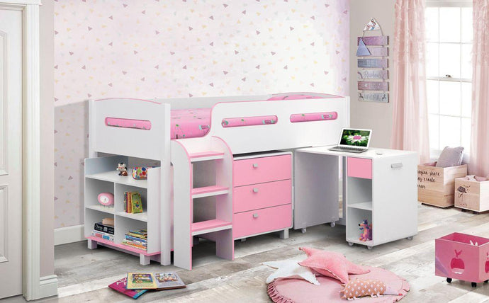 Kimbo Pink Or Blue Midi Sleeper Kids Bed + Ortho Mattress - Modern Home Interiors