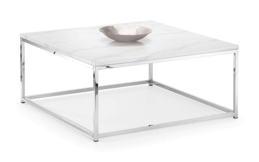 Zara White Marble Top Square Coffee Table - Modern Home Interiors