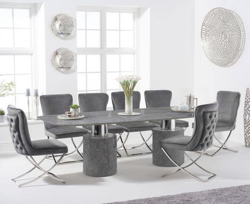 Adeline 260cm Grey Marble Dining Table - Modern Home Interiors