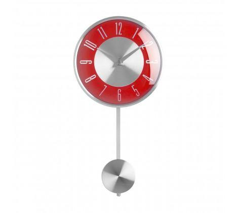 Red and Chrome Pendulum Wall Clock - Modern Home Interiors