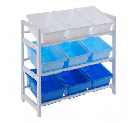 3 Tier White/Blue Kids Storage Unit - Modern Home Interiors