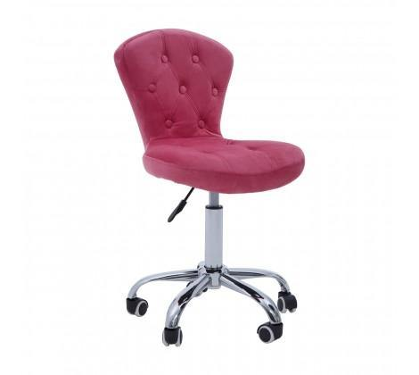 Rolling Home Office Chair - Pink Velvet - Modern Home Interiors