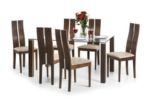 Load image into Gallery viewer, Julian Bowen Cayman Dining Set Table & 6 Chairs Glass & Solid Beech Wood Walnut - Modern Home Interiors