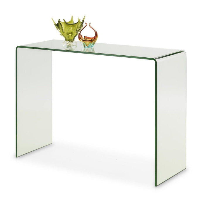 Julian Bowen Amalfi Designer Bent Clear Safety Glass Hall Console Table - Modern Home Interiors