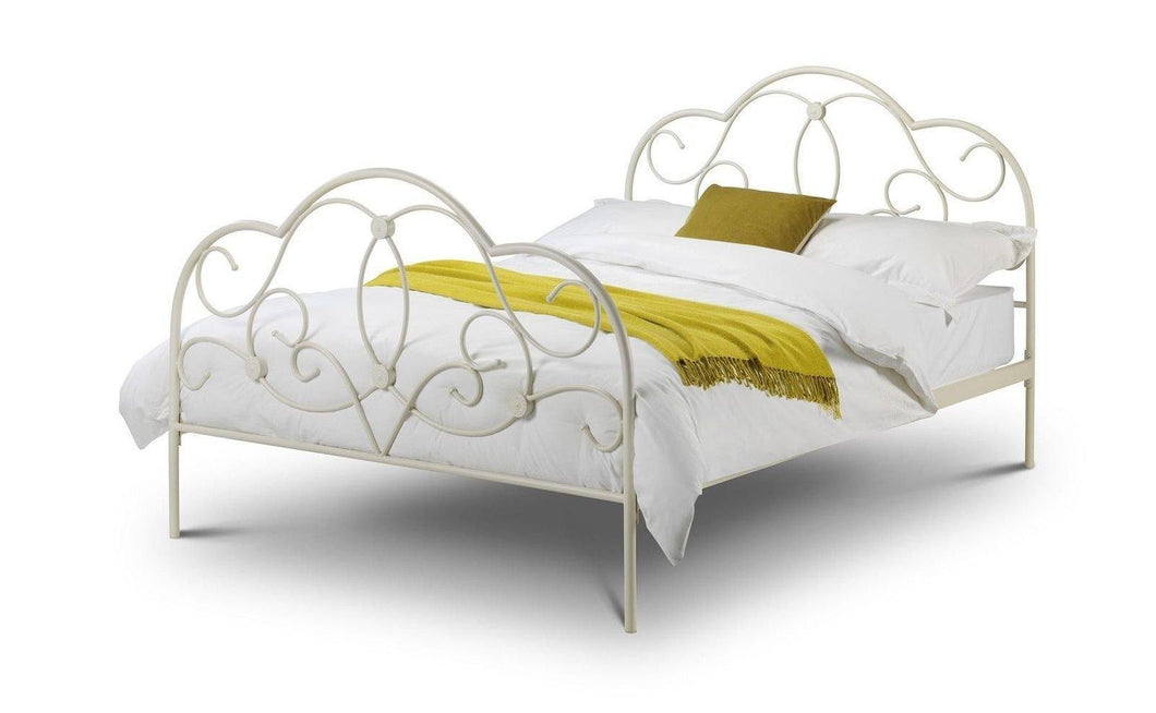 Julian Bowen Arabella 5'0 150cm King Size Stone White Metal Bed Frame - Modern Home Interiors