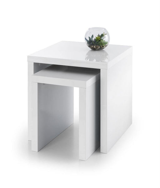 New Metro Set Of 2 Designer White High Gloss Nest Of Tables - Modern Home Interiors