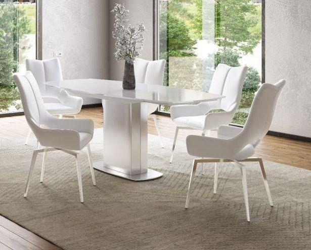 Torelli Olivia 130-190cm Swivel Extending White Glass Dining Table + 6 Spinello Chairs - Modern Home Interiors