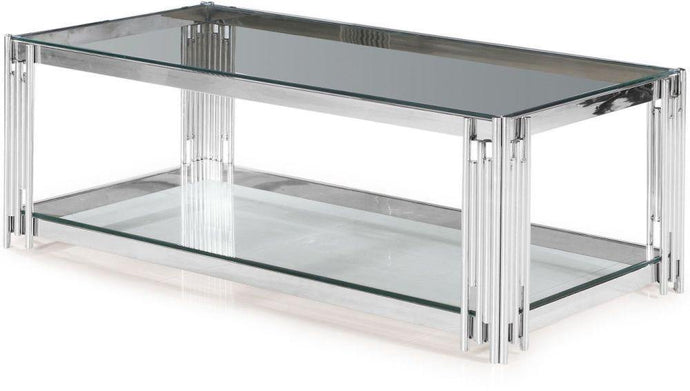 Vasari Coffee Table Glass and Chrome - Modern Home Interiors