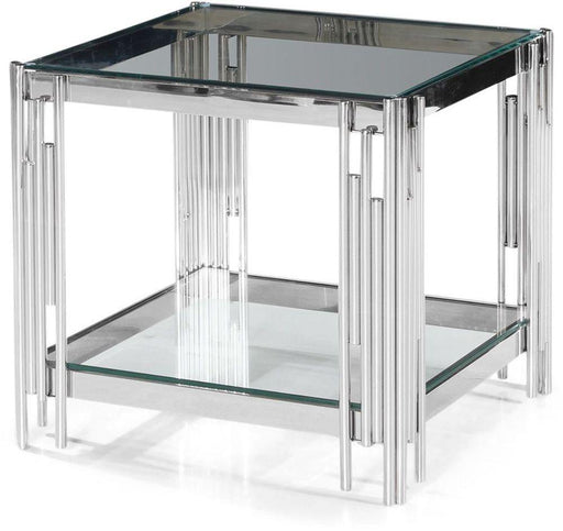 Vasari Side Table Glass and Chrome - Modern Home Interiors