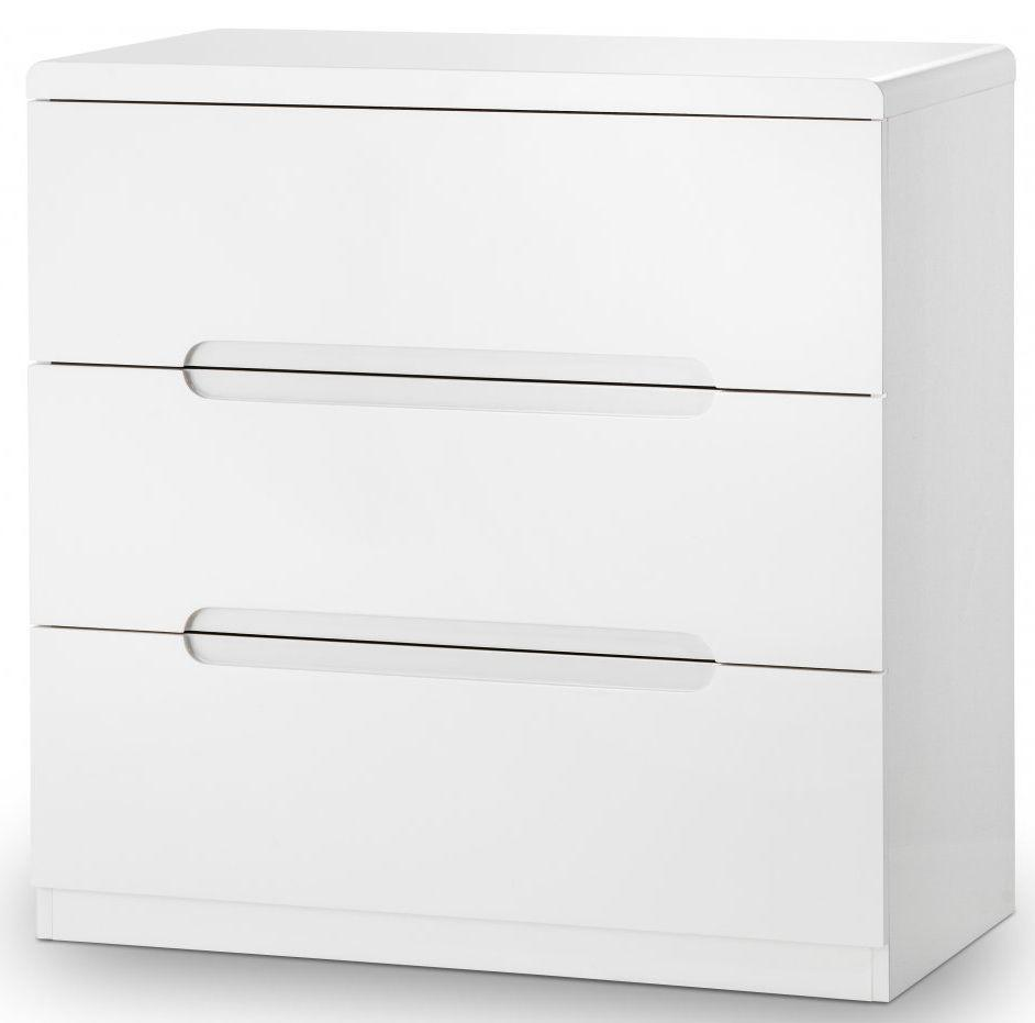 Julian Bowen Manhattan White High Gloss 3 Drawer Chest - Modern Home Interiors
