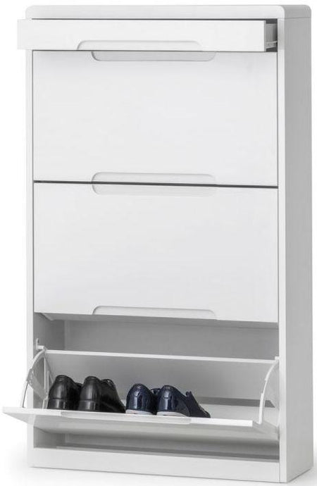 Julian Bowen Manhattan White High Gloss 1 Drawer Shoe Cabinet - Modern Home Interiors