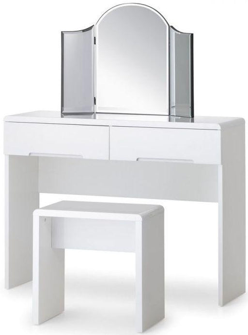 Julian Bowen Manhattan White High Gloss 2 Drawer Dressing Table - Modern Home Interiors