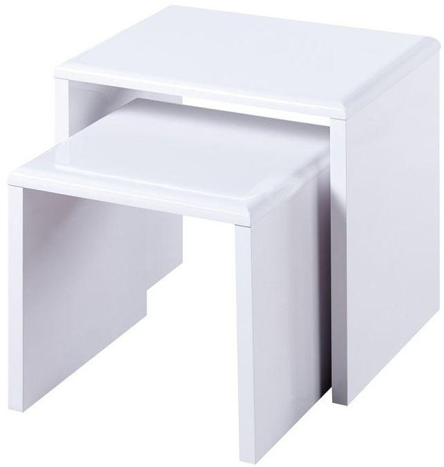 Julian Bowen Manhattan White High Gloss Nest of Tables - Modern Home Interiors