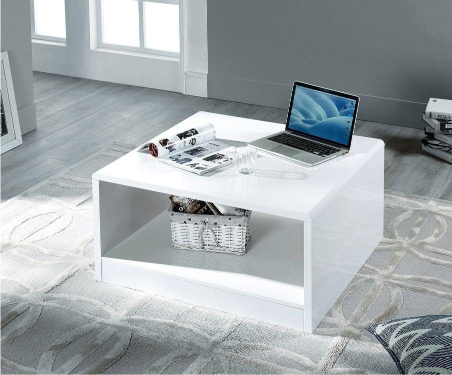 Julian Bowen Manhattan White High Gloss Square Coffee Table - Modern Home Interiors