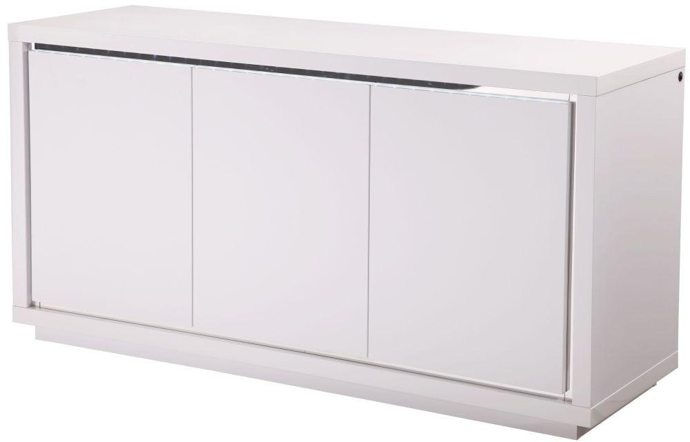 Sardinia White High Gloss Sideboard with LED - Modern Home Interiors