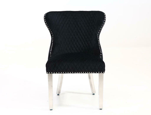 Valentino Quilted Velvet Chrome Leg Lion Knockerback Dining Chair - Black - Modern Home Interiors