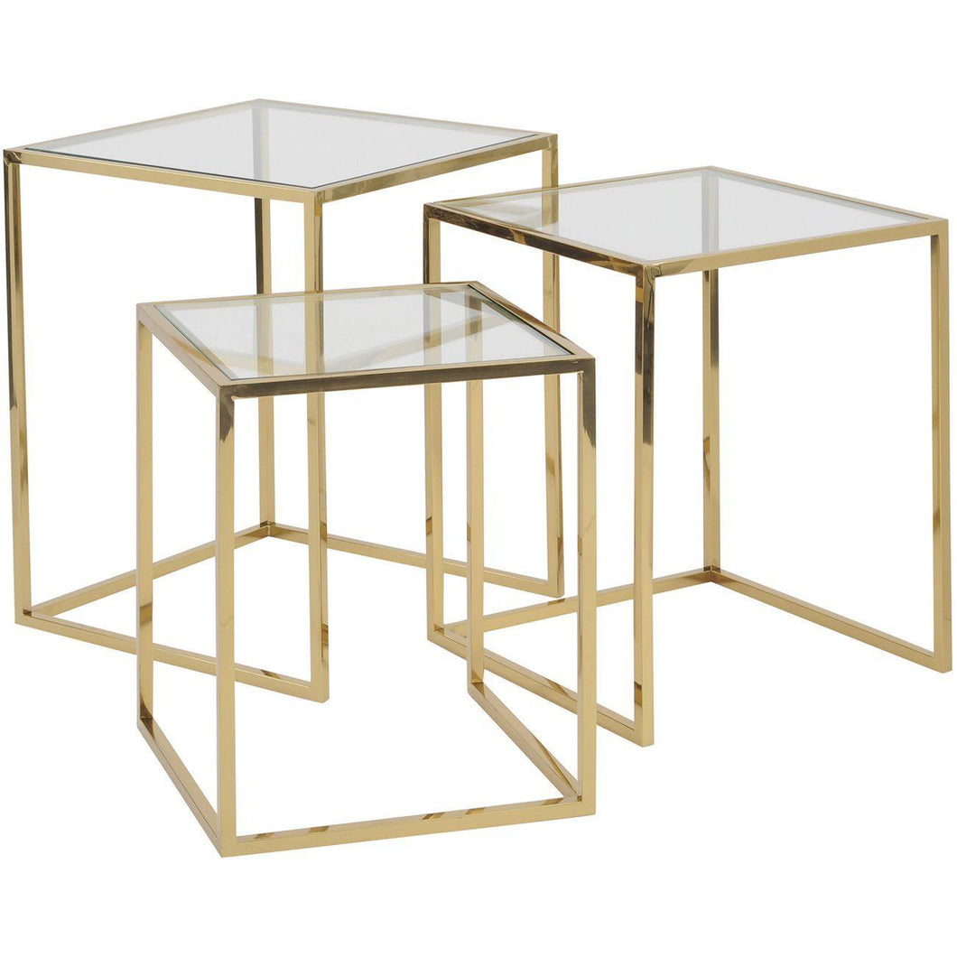 London Gold Stainless Steel And Glass Set Of 3 Nesting Tables
