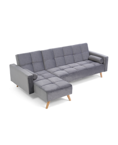 Abigail Grey Velvet Left Hand Facing Chaise Sofa - Modern Home Interiors