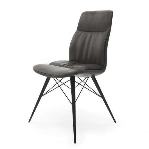 Alexa Dark Grey Leather Dining Chair - Modern Home Interiors