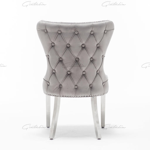 Florence French Velvet Button Back Dining Chair - Dark Grey - Modern Home Interiors