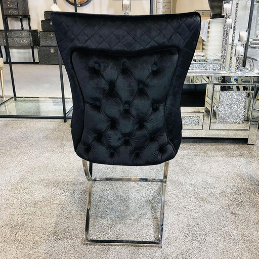 Milano Black Quilted Buttoned Back Chair Plush Velvet - Modern Home Interiors
