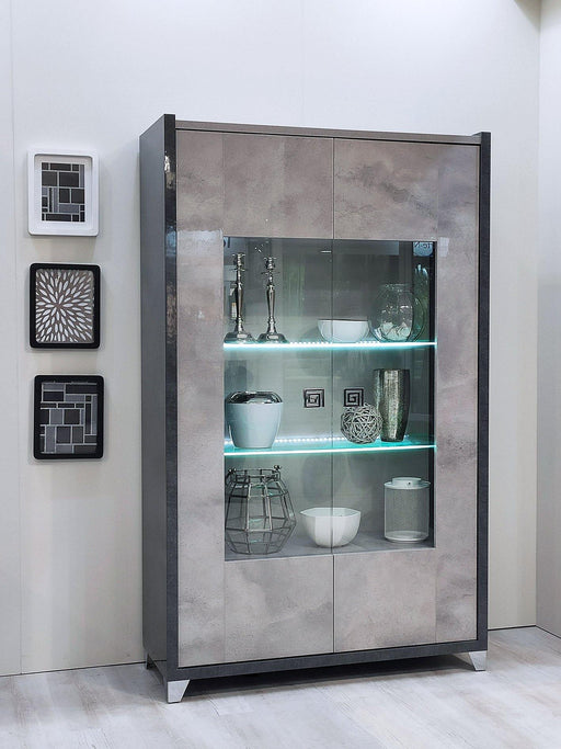Hilton Italian High Gloss 2 Door Display Cabinet with LED Light - Modern Home Interiors