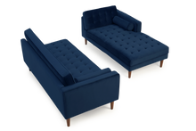 Load image into Gallery viewer, Idriana Blue Velvet Right Facing Chaise Sofa - Modern Home Interiors