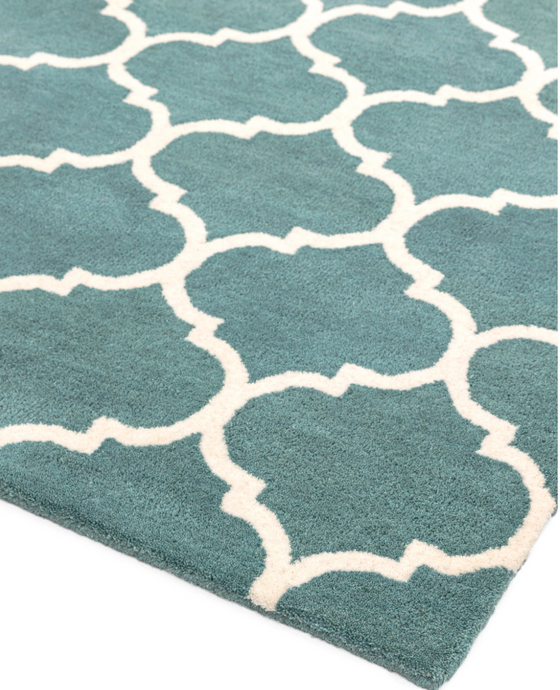 Albany Ogee Duck Egg Rug - 4 Sizes Available - Modern Home Interiors