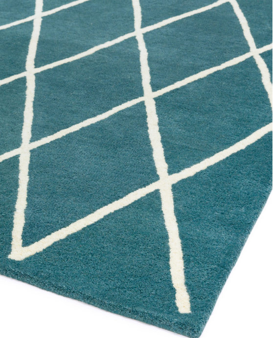 Albany Diamond Teal Rug - 4 Sizes Available - Modern Home Interiors