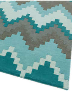 Matrix Wool Rug - Cuzzo Teal - Modern Home Interiors