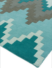 Load image into Gallery viewer, Matrix Wool Rug - Cuzzo Teal - Modern Home Interiors