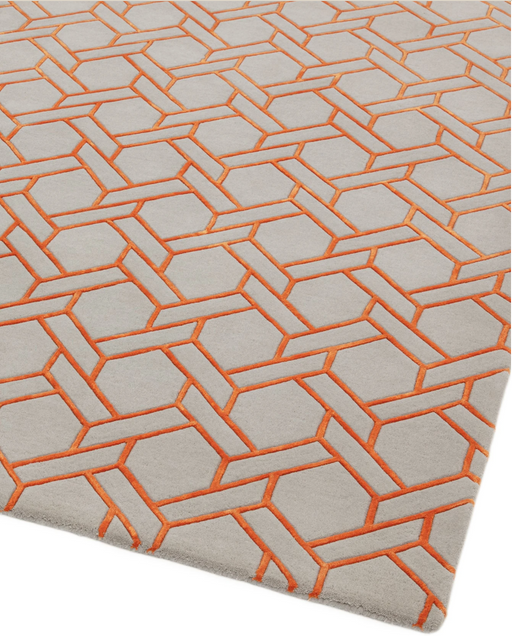 Nexus Geo Hand Tufted Rug - Silver/ Orange - Modern Home Interiors