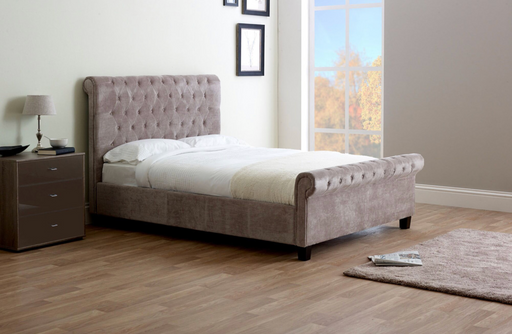 Limelight Orbit Mink Velvet Bed Frame - Modern Home Interiors