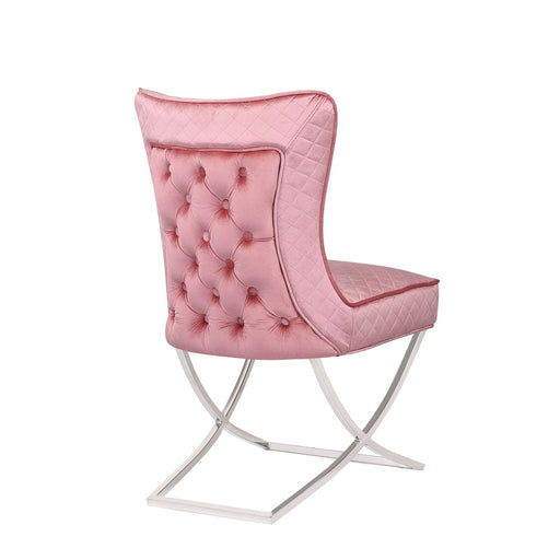 Milano Pink Quilted Buttoned Back Chair Plush Velvet - Modern Home Interiors