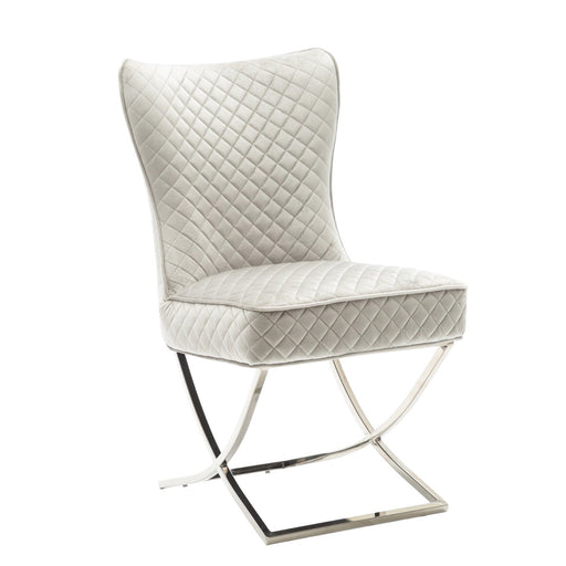Milano Silver Quilted Buttoned Back Chair Plush Velvet - Modern Home Interiors