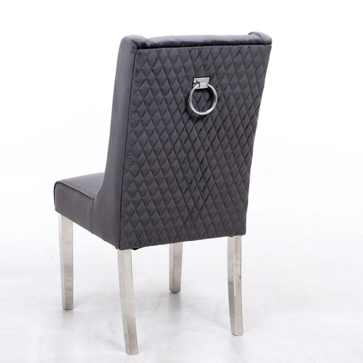 Kyoto Grey Quilted Knockerback Chair - Modern Home Interiors