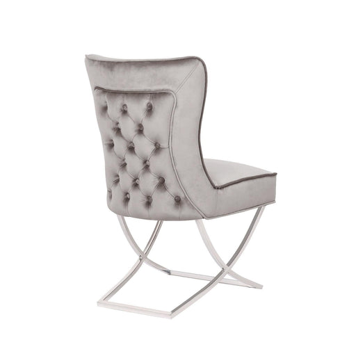 Venice Grey Buttoned Padded Back Plush Velvet Chair - Modern Home Interiors