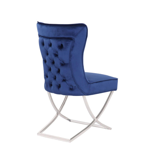 Venice Blue Buttoned Padded Back Plush Velvet Chair - Modern Home Interiors