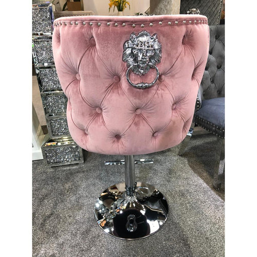 Valentino Pink Quilted French Velvet Chrome Leg Bar Stool - Modern Home Interiors