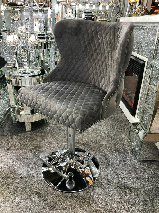 Valentino Grey Quilted French Velvet Chrome Leg Bar Stool - Modern Home Interiors