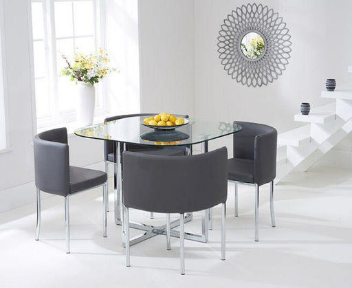 Abingdon Stowaway Dining Set With 4 Grey Dining Chairs - Modern Home Interiors