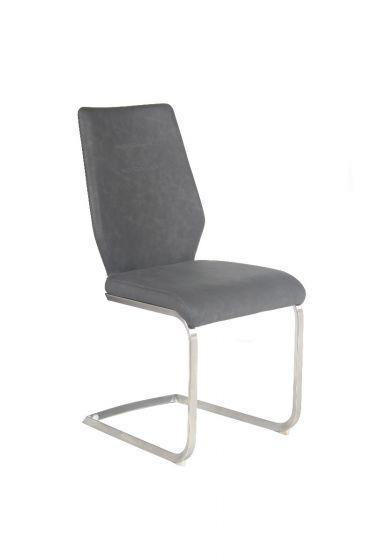 Agata Grey Leather Dining Chair - Modern Home Interiors