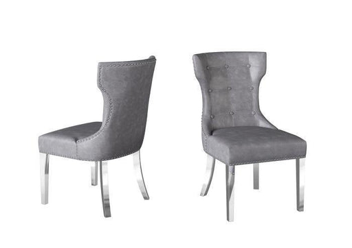 Alisa Grey Silver Legs Dining Chair - Modern Home Interiors