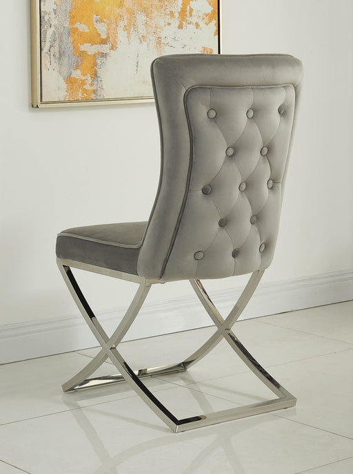 Belgravia Grey French Velvet Button Back Dining Chair With Chrome Legs - Modern Home Interiors