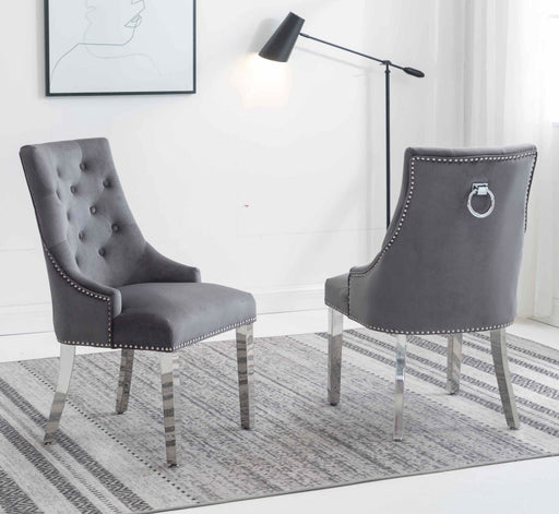 Knightsbridge Velvet Knocker Back Dining Chair With Chrome Legs 4 Colours Available - Modern Home Interiors