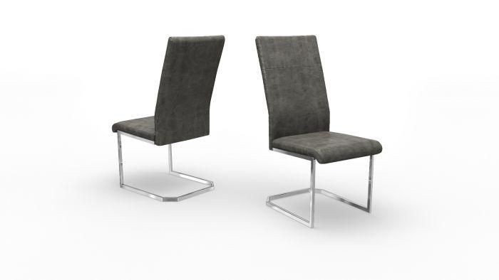 Diego Grey Leather Dining Chair - Modern Home Interiors
