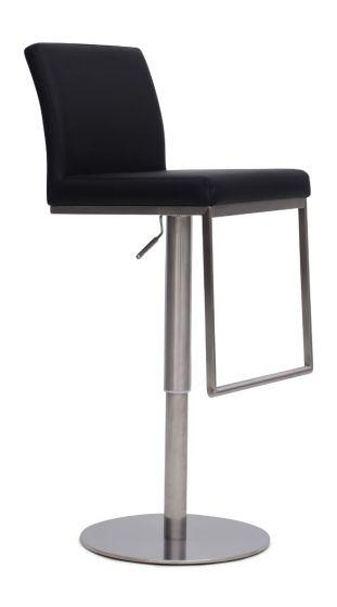 Enzo Black Leather Barstool - Modern Home Interiors