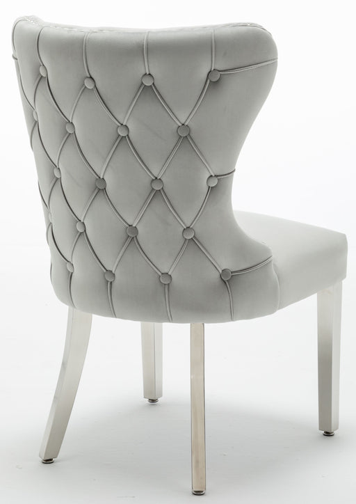 Florence Light Grey French Velvet Button Back Dining Chair With Chrome Legs - Modern Home Interiors